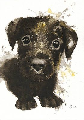 Watercolor Pet Portraits Painting - Dirty Puppy by Kathleen Wong