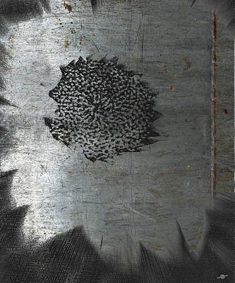Sunflowers Mixed Media - Dirty Silver Sunflower by Tony Rubino