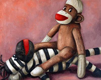 Gorilla Painting - Dirty Socks 3 Playing Dirty by Leah Saulnier The Painting Maniac
