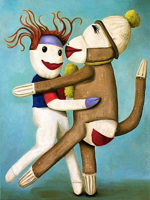 Sock Monkey Painting - Dirty Socks Dancing The Tango by Leah Saulnier The Painting Maniac