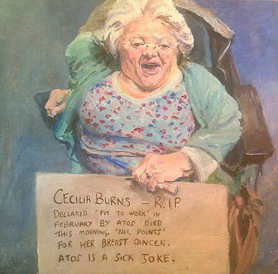 Painting - Disability Protester Remembers Cecilia Burns by Rosanne Gartner