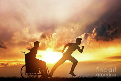 Photograph - Disabled Man In A Wheelchair Dreaming Of Running by Michal Bednarek