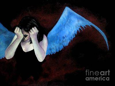 Disappointed Painting - Disappointed Angle Girl Painting by Maryam Mughal