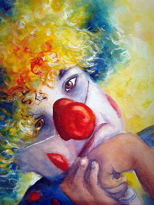 Sad Clown Painting - Disappointed by Myra Evans