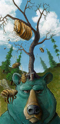 Bee Hive Painting - Disavowing Bear by Richardson Comly