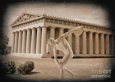 Disc Mixed Media - Disc Thrower In Front Of Parthenon 2 by Garland Johnson