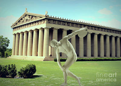Disc Mixed Media - Disc Thrower In Front Of Parthenon 3 by Garland Johnson