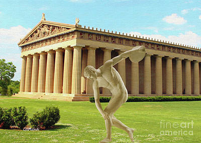 Disc Mixed Media - Disc Thrower In Front Of Parthenon 4 by Garland Johnson