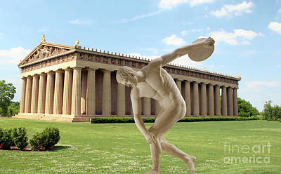 Disc Mixed Media - Disc Thrower In Front Of Parthenon 5 by Garland Johnson