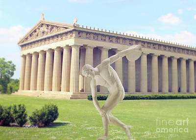 Disc Mixed Media - Disc Thrower In Front Of The Parthenon by Garland Johnson