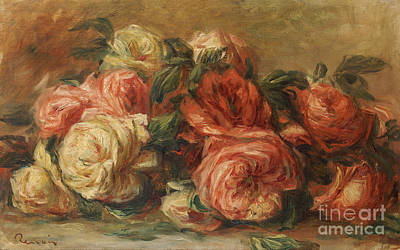 Red Rose Wall Art - Painting - Discarded Roses  by Pierre Auguste Renoir