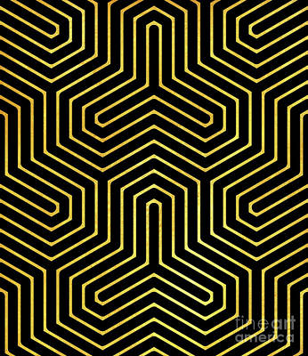 Optical Art Painting - Disco Days Black, Gold Modern Geometric Op Art by Tina Lavoie