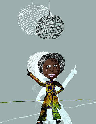 Disco Drawing - Disco Lady by Laura Botsford