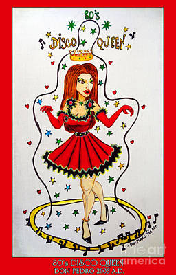 Art Print featuring the painting Disco Queen 80's by Don Pedro De Gracia