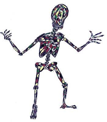 Disco Drawing - Disco Skeleton by AR Teeter