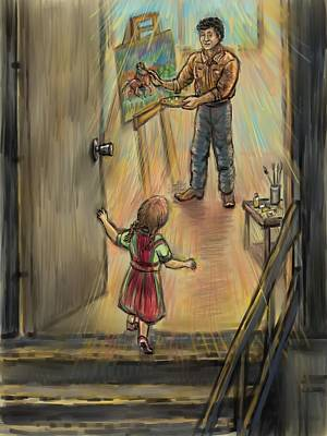 Drawing - Discovering Daddy's World by Dawn Senior-Trask