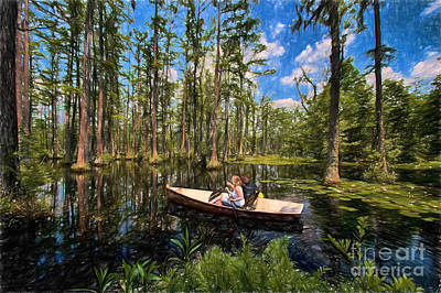 Row Homes Painting - Discovery In A Cypress Swamp Ap by Dan Carmichael