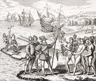 Christopher Columbus Drawing - Discovery Of America,12th Of May,1492 by Vintage Design Pics