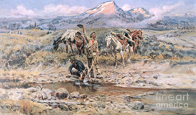 Gold Pan Painting - Discovery Of Last Chance Gulch Montana by Charles Marion Russell