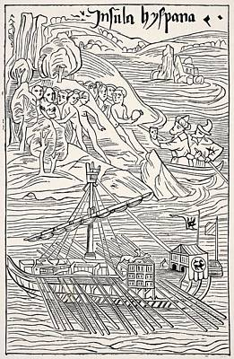 Christopher Columbus Drawing - Discovery Of Santo Domingo, Insula by Vintage Design Pics