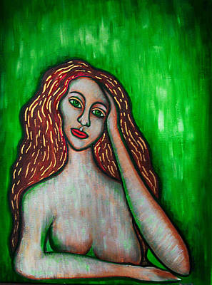 Painting - Discrete Contemplation-green by Brenda Higginson