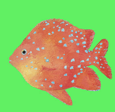 Fish Art Painting - Discus Fish For Coastal Decor by Jan Matson