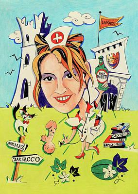 Caricature Drawing - Disegni E Caricature Papiri Di Laurea - Stampa Colore by Arte Venezia