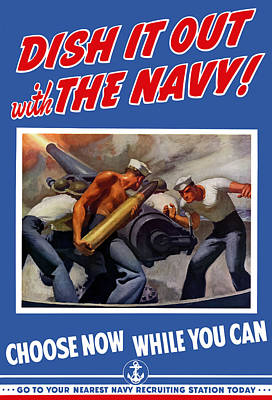 Us Navy Painting - Dish It Out With The Navy by War Is Hell Store