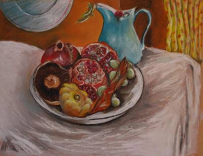 Drawing - Dish Of Pomegranates by Maria  Disley