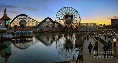 Roller Coaster Digital Art - Disney California Adventure Panorama by Eddie Yerkish