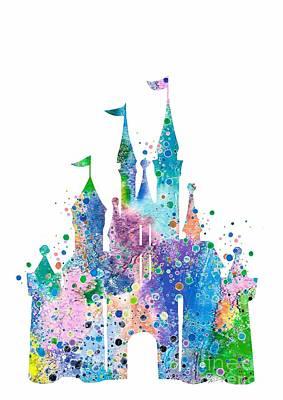 Birthday Gift Digital Art - Disney Castle 2 Watercolor Print by Svetla Tancheva