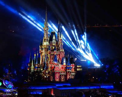 Digital Art - Disney Castle At Night by Katy Hawk