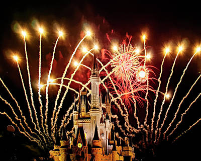 Photograph - Disney Castle Fireworks by Mark Myhaver