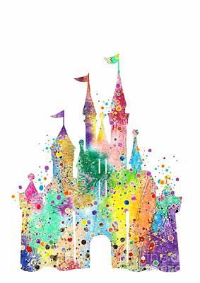 Birthday Gift Digital Art - Disney Castle Watercolor Print by Svetla Tancheva