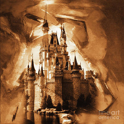 Cinderella Castle Painting - Disney Cinderella Castle   by Gull G