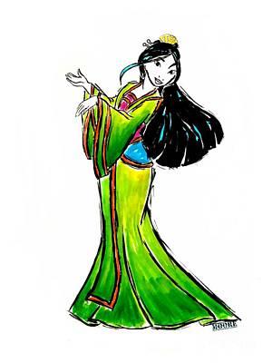 Drawing - Disney Mulan  by Justin Moore