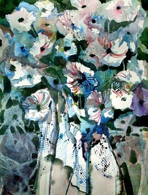 Art Print featuring the painting Disney Petunias by Mindy Newman