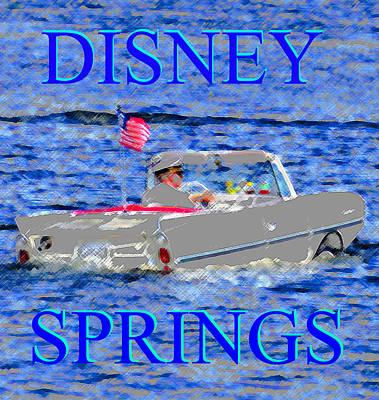 Boating Digital Art - Disney Springs Amphicar White by David Lee Thompson