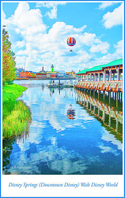 Tourist Attraction Digital Art - Disney Springs Boat Dock And Balloon Ride by A Gurmankin