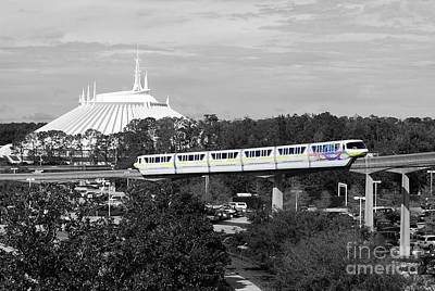 Art Print featuring the photograph Disney World Monorail Color Splash Black And White Prints by Shawn O'Brien