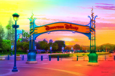 Sandwich Mixed Media - Disneyland Downtown Disney Signage Rainbow by Thomas Woolworth