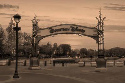 White House Mixed Media - Disneyland Downtown Disney Signage Sepia by Thomas Woolworth