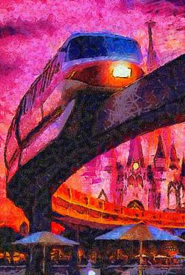 Digital Art - Disney's Monorail by Caito Junqueira