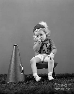 Photograph - Dispirited Little Cheerleader, C.1940s by H. Armstrong Roberts/ClassicStock