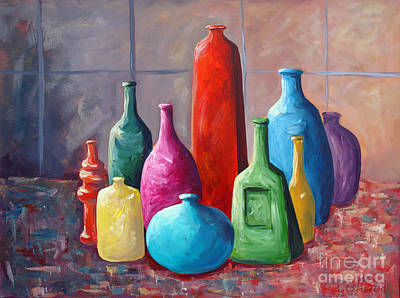Art Print featuring the painting Display Bottles by Phyllis Howard