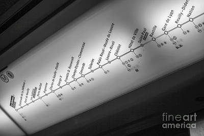 Photograph - Display Of Paris Metro Line And Stations  by Patricia Hofmeester