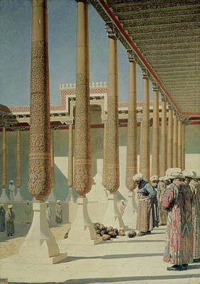 Inspecting Painting - Display Of Trophies by Vasili Vasilievich Vereshchagin