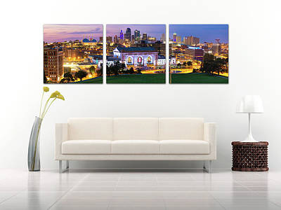 Photograph - Display Only - Kansas City Skyline Panorama - Panoramic Panels Series by Gregory Ballos