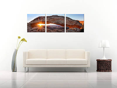 Photograph - Display Only - Mesa Arch Sunrise Panorama Canyonlands National Park - Panoramic Panels Series by Gregory Ballos