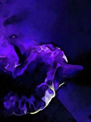 Digital Art - Dissolving Purple Cat by Jackie VanO